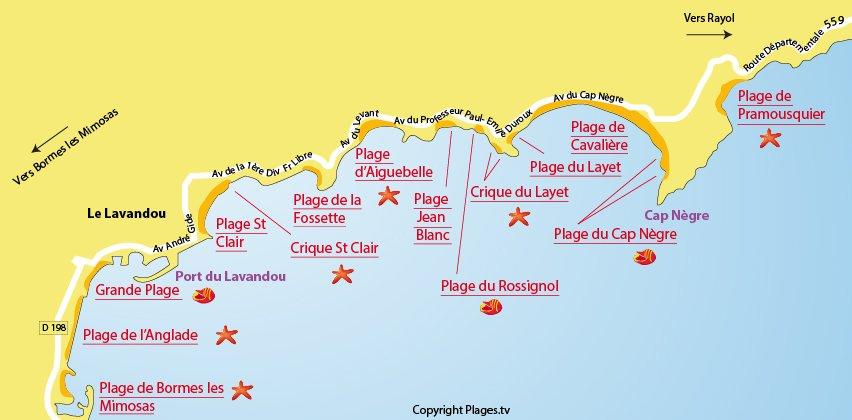 Carte des plages du Lavandou dans le Var
