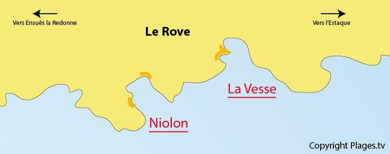 Carte de la plage de Le Rove sur la Côte Bleue
