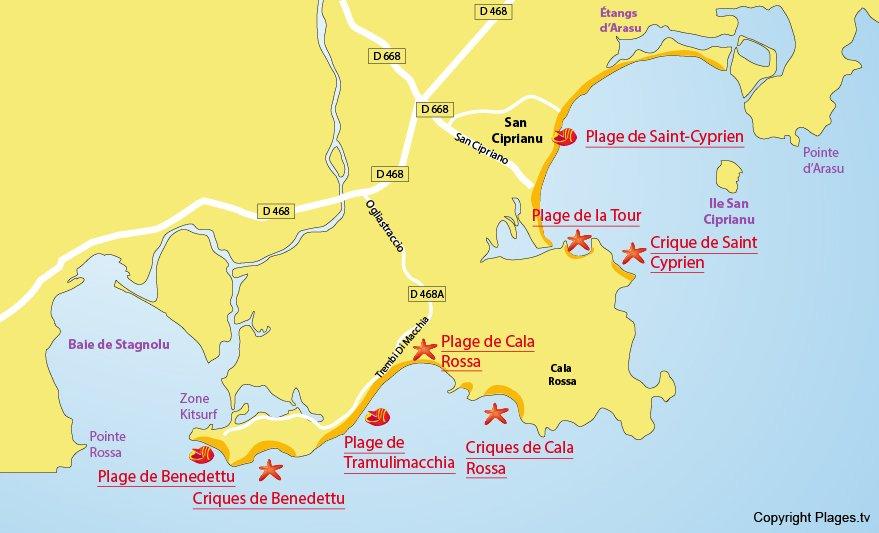 Carte des plages de Lecci en Corse