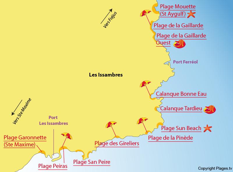 Carte des plages des Issambres dans le Var