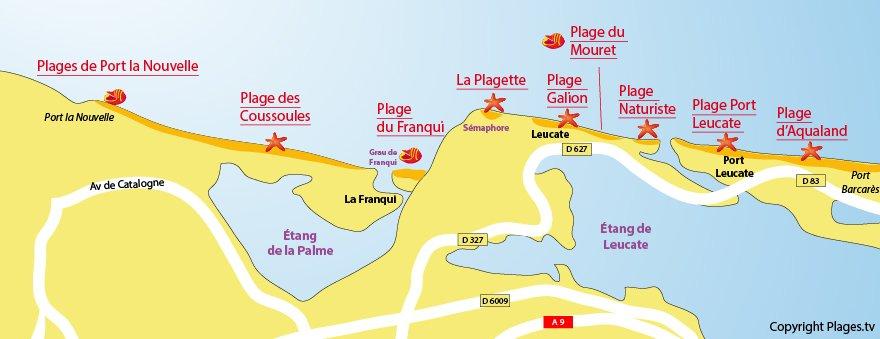 Carte des plages de Leucate dans l'Aude