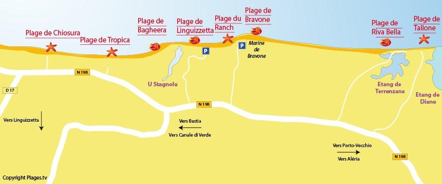 Carte des plages de Linguizzetta en Corse