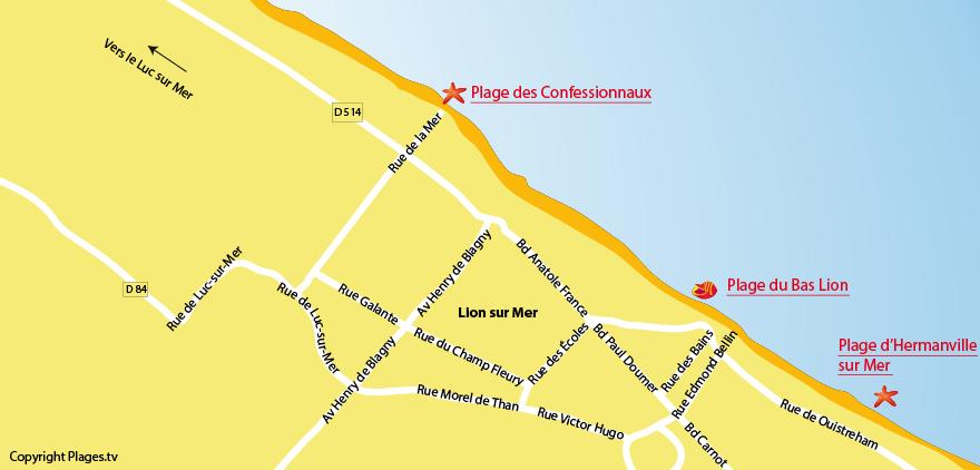Plan des plages au Lion sur Mer