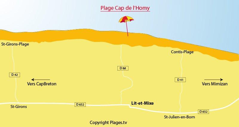 Plan des plages de Lit et Mixe dans les Landes