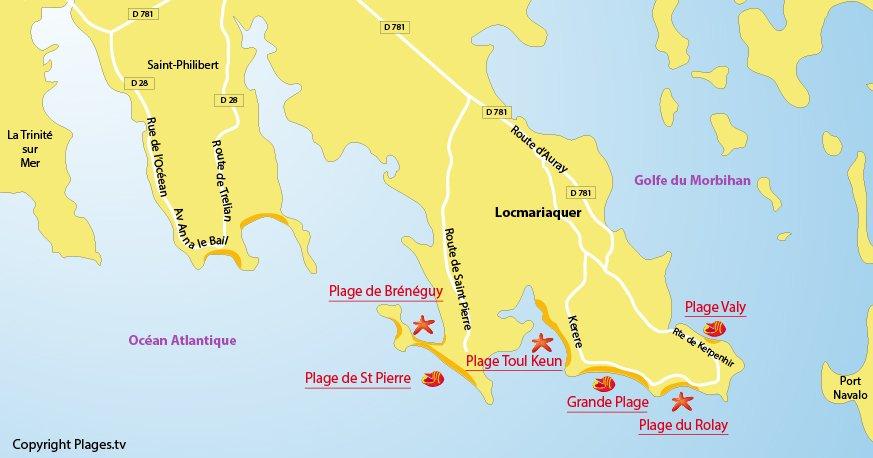 Carte des plages de Locmariaquer dans le Morbihan