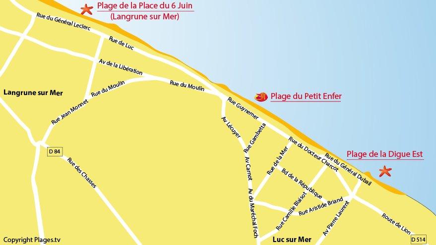 Carte des plages au Luc sur Mer