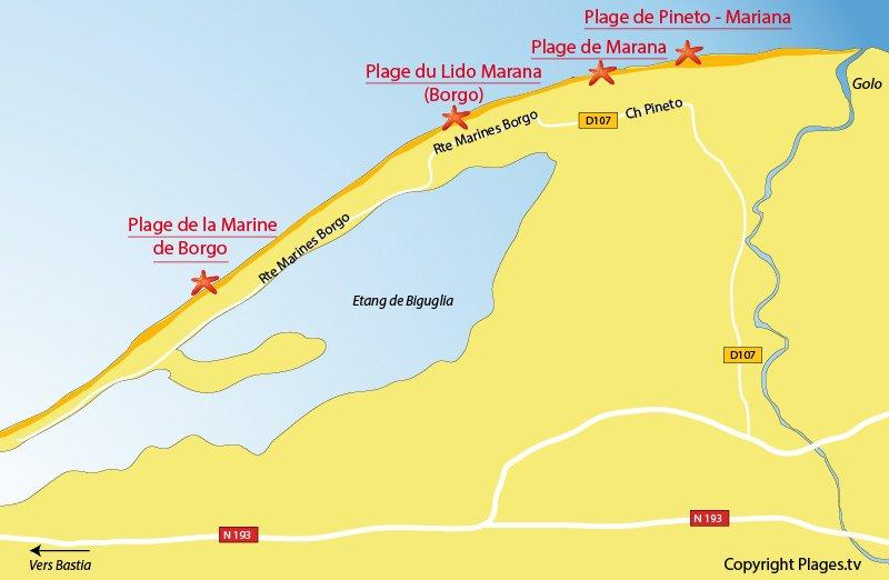 Plan des plages de Lucciana en Corse