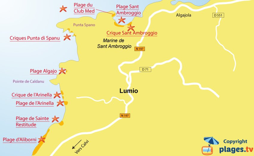 Plan des plages de Lumio et de Sant Ambroggio en Corse