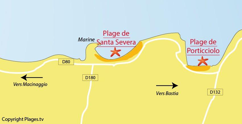 Carte des plages autour de Luri dans le Cap Corse