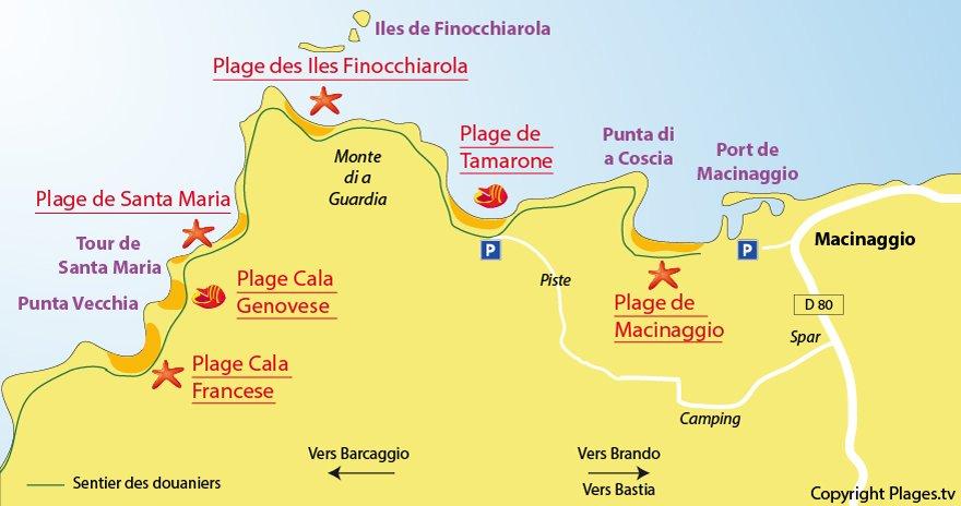 Carte des plages de Macinaggio dans le Cap Corse