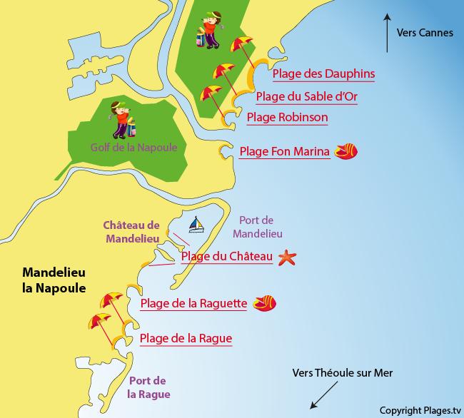 Carte des plages de Mandelieu