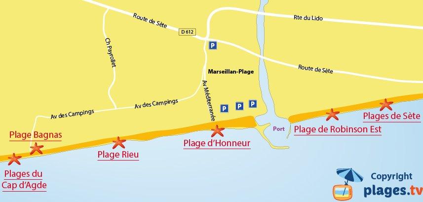 Carte des plages de Marseillan