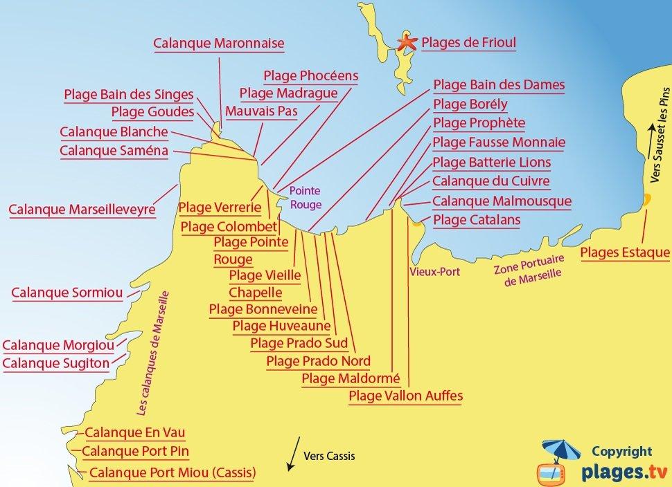 Carte des plages de Marseille