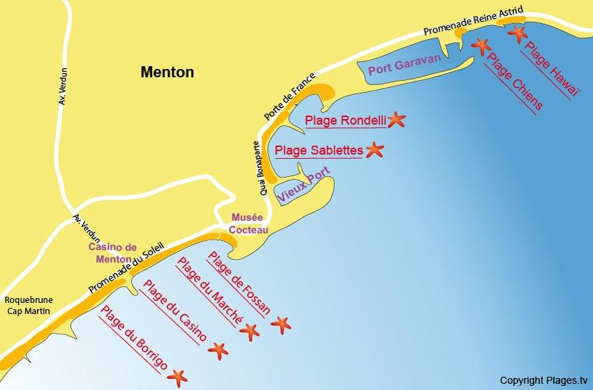 Plan des plages de Menton