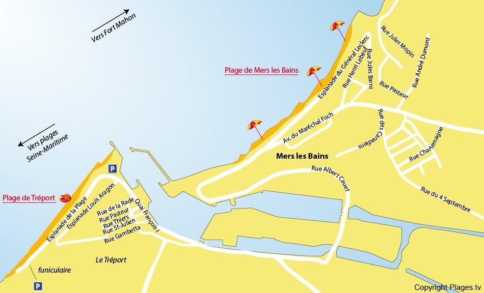 Plan des plages de Mers les Bains (Somme)