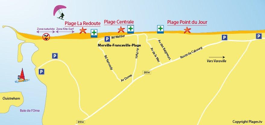 Carte des plages de Merville-Franceville
