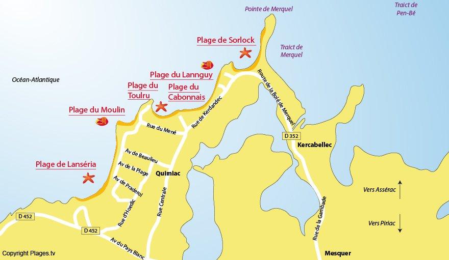 Plan des plages de Mesquer Quimiac (44)