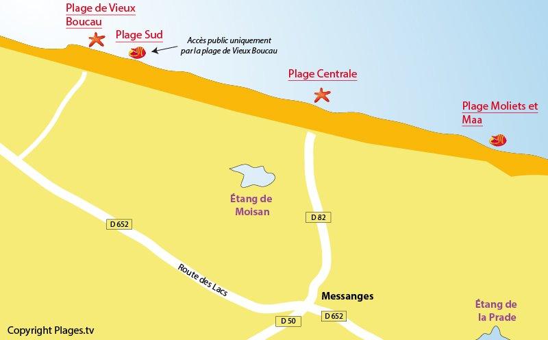 Carte des plages de Messanges dans les Landes