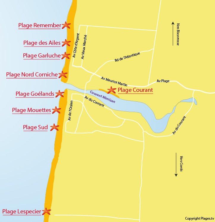 Carte des plages de Mimizan (Landes)