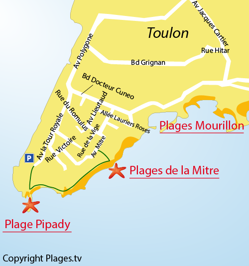 Map of Mitre Beach in Toulon