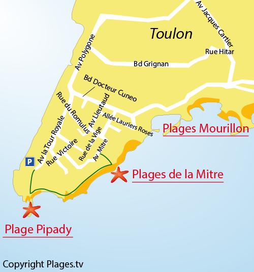 Mappa Spiagge di La Mitre a Tolone