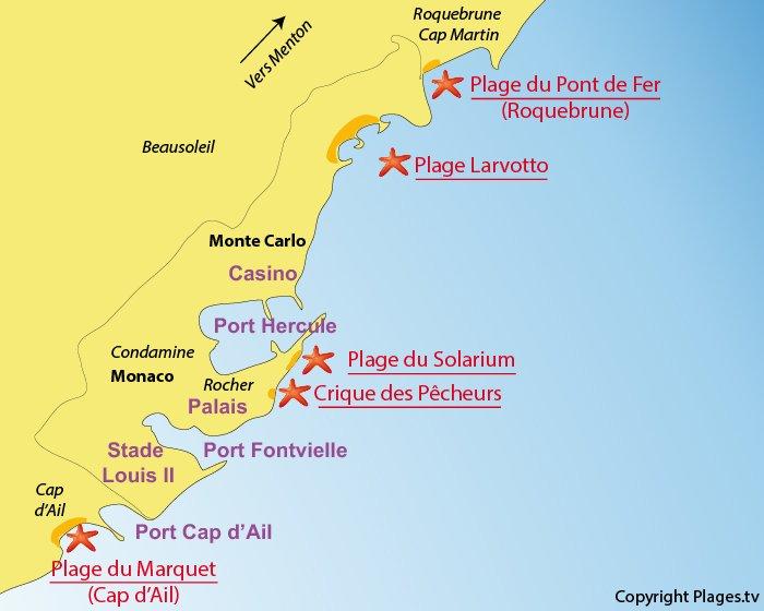 Carte des plages de Monaco