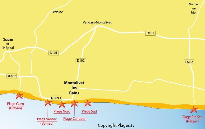 Plan des plages de Montalivet les Bains en Gironde
