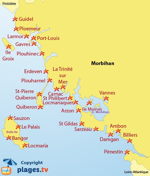 Map of beaches in Morbihan in Brittany in France
