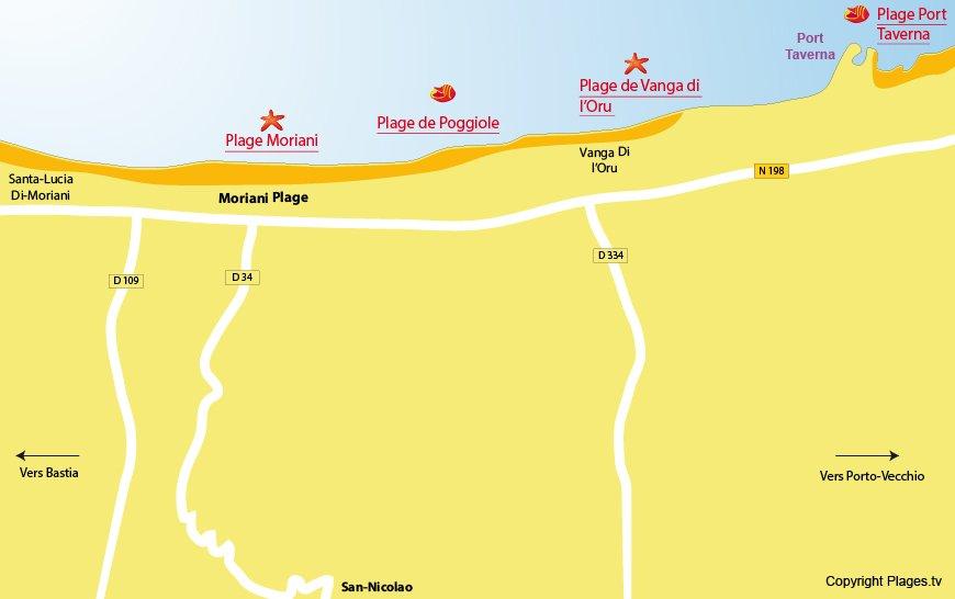carte des plages de Moriani en Corse