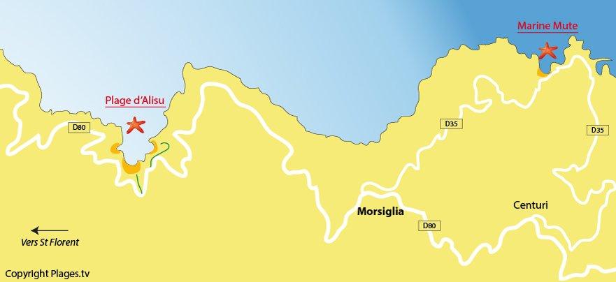 Carte des plages de Morsiglia dans le Cap Corse