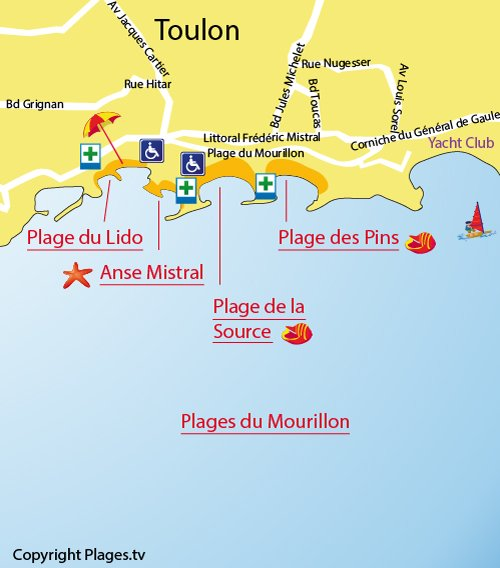 Map of Mourillon Beach in Toulon