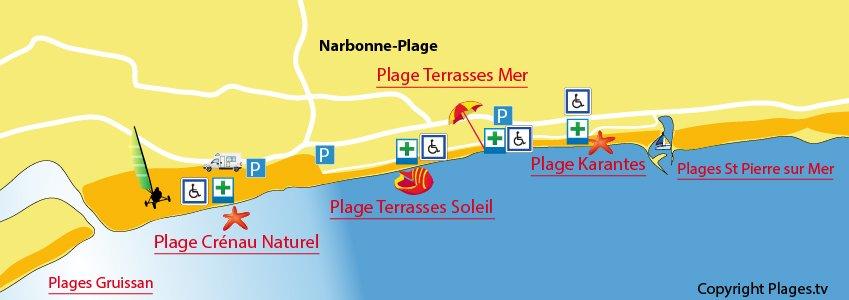 Plan des plages de Narbonne-Plage dans l'Aude