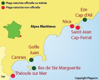 Carte des plages naturistes dans les Alpes Maritimes (06)