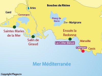 Carte des plages naturistes dans les Bouches du Rhône (13)