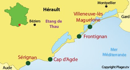 Map of naturist beaches in Hérault in France