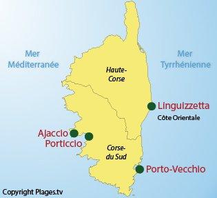 Carte des plages naturistes en Corse