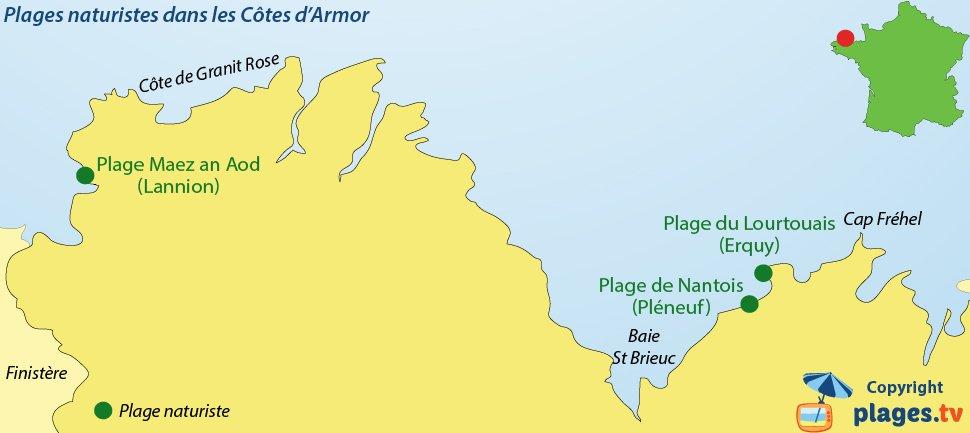 Carte des plages naturistes dans les Côtes d'Armor