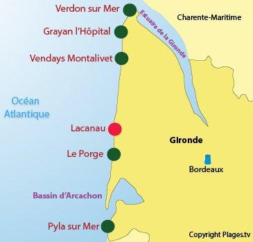 Carte des plages naturistes en Gironde