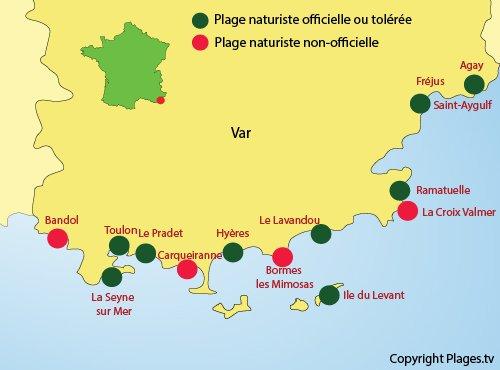 Carte des plages naturistes dans le Var