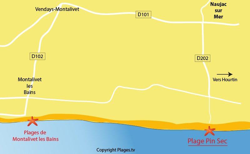 Plan des plages de Naujac sur Mer en Gironde