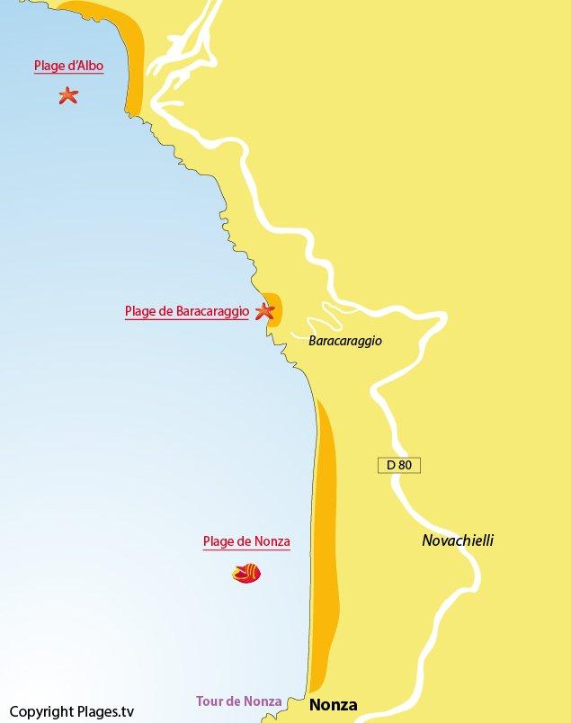 Carte de la plage de Nonza dans le Cap Corse et des environs