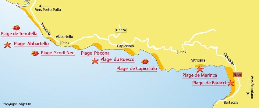 Carte des plages à Olmeto en Corse