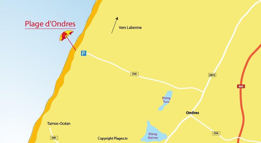 Carte des plages à Ondres dans les Landes