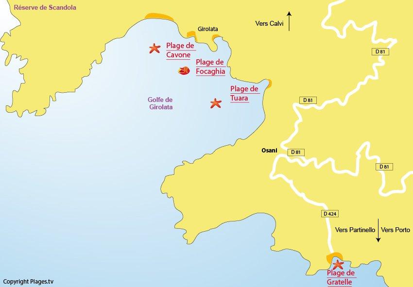 Plan des plages d'Osani dans le golfe de Girolata en Corse
