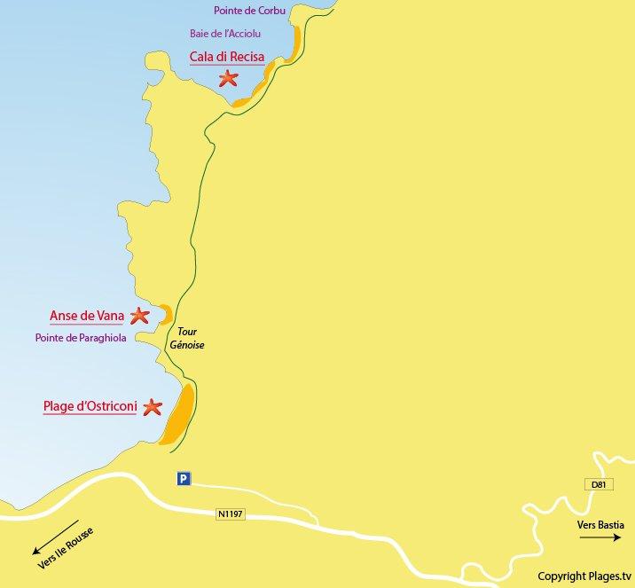 Carte des plages de l'Ostriconi dans le désert des Agriates en Corse