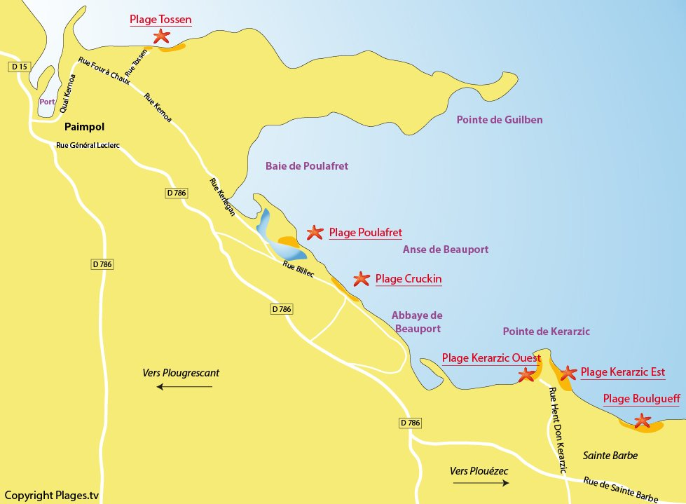 Carte des plages de Paimpol en Bretagne