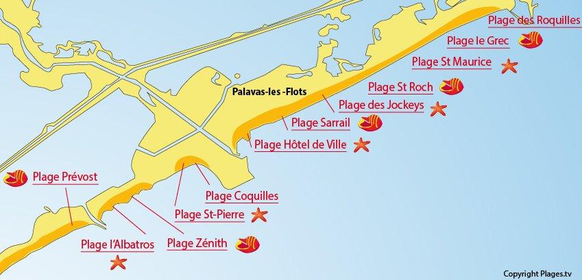 Plan des plages de Palavas les Flots dans l'Hérault