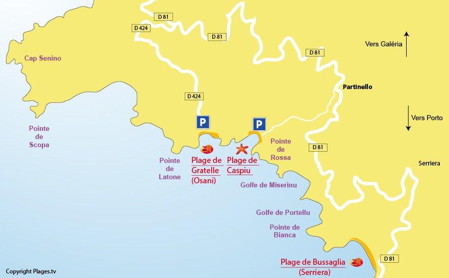 Plan des plages de Partinello dans le golfe de Porto en Corse