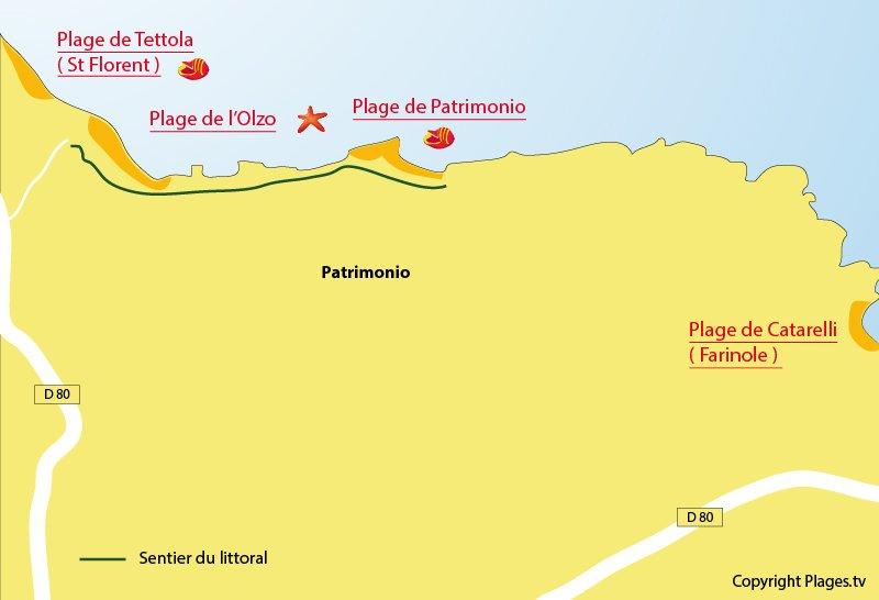 Carte des plages de Patrimonio en Corse