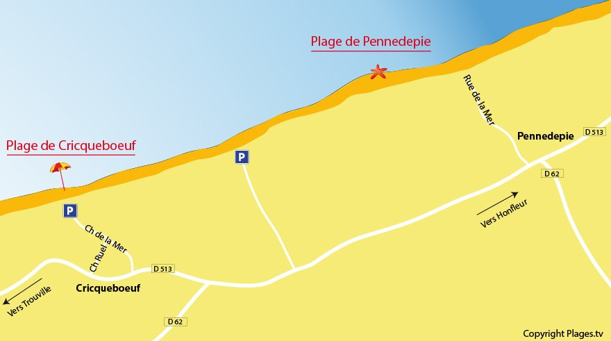 Plan des plages de Pennedepie en Normandie